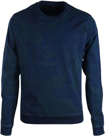 Blue Industry Sweater Flower Print