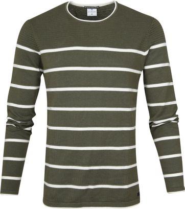 Blue Industry Sweater Knit Streifen Grün