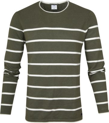 Blue Industry Sweater Knit Stripes Green