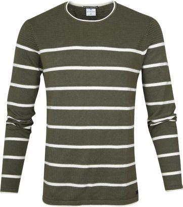 Blue Industry Sweater Knit Stripes Green