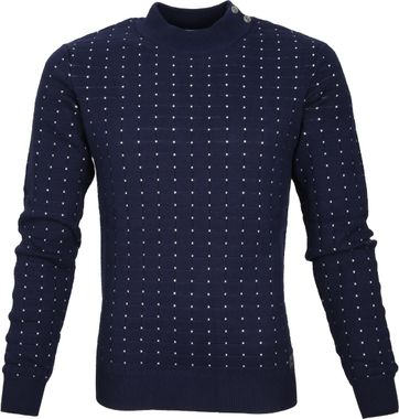 Blue Industry Sweater Navy Dots Wit