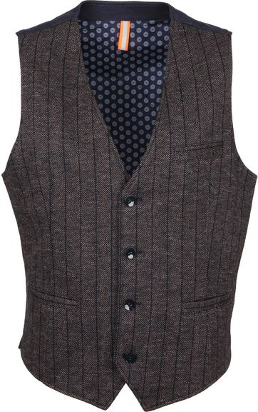 Blue Industry Waistcoat Stripes Brown