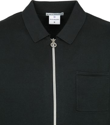 Blue Industry Zipper Cardigan Polo Dunkelgrün