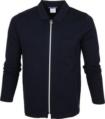 Blue Industry Zipper Cardigan Polo Navy