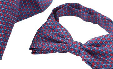 Bow Tie Silk + Pocket Sqaure Blue Red