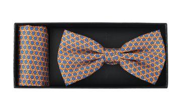 Bow Tie Silk + Pocket Sqaure Orange Blue