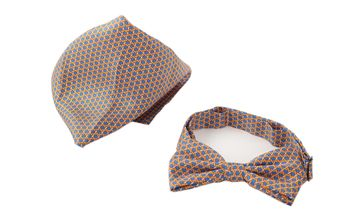 Bow Tie Silk + Pocket Square Orange Blue