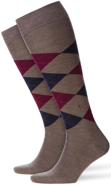 Burlington Edinburgh Knee Socks Pebble Brown 5817
