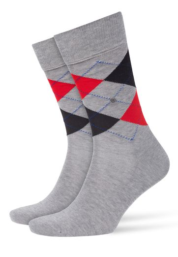 Burlington Socken Manchester Grau Rot