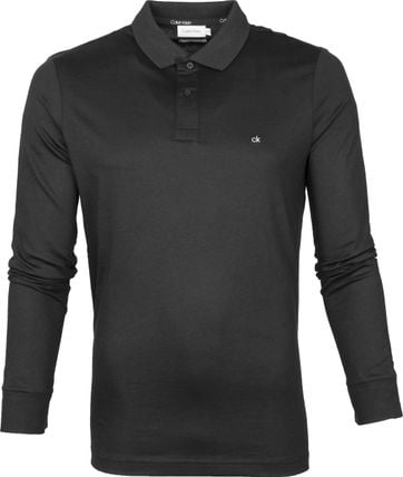 Calvin Klein Liquid LS Polo Shirt Black