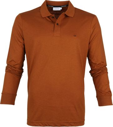 Calvin Klein LS Polo Shirt Brown
