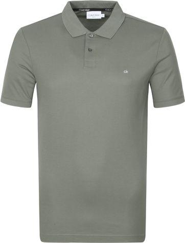 Calvin Klein Polo Slim Logo Donkergroen