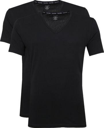 Calvin Klein T-Shirt V-Neck Schwarz 2-pack