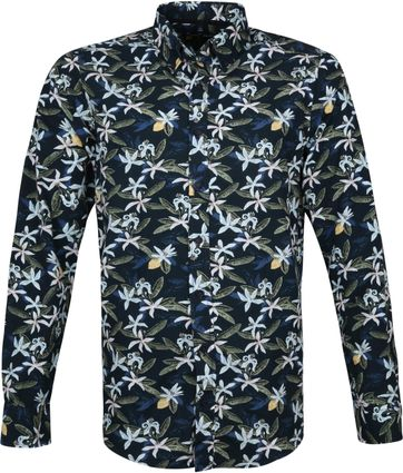 Casa Moda Organic Casual Shirt Flowers Navy