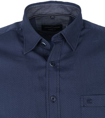 Casa Moda Organic Shirt Micro Print Dark Blue