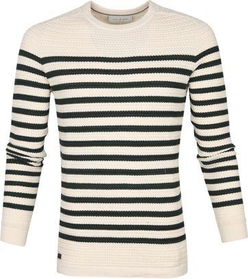 Cast Iron Sweater Streifen Grün Beige