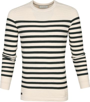 Cast Iron Sweater Stripes Green Beige