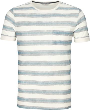 Cast Iron T Shirt Stripes Green