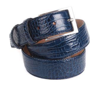 Croco Belt Dark Blue Leather 42-01