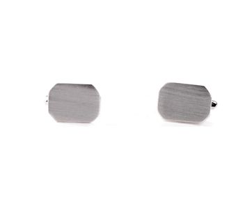 Cufflinks Silver Octagon Matt