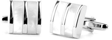 Cufflinks Silver + White Lanes
