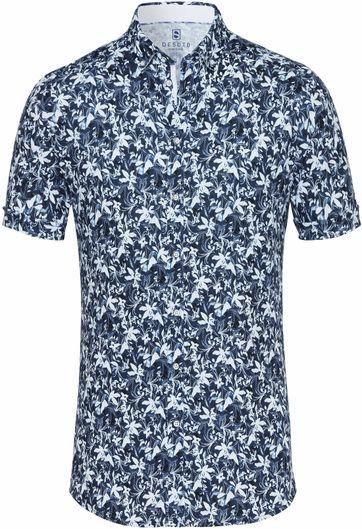 Desoto Overhemd Korte Mouw Bloem Navy