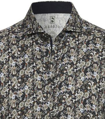 Desoto Overhemd New Hai Donkergroen Bloemen