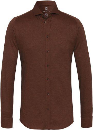 Desoto Overhemd Strijkvrij Bruin 851