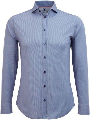 Desoto Overhemd Strijkvrij Dessin Indigo
