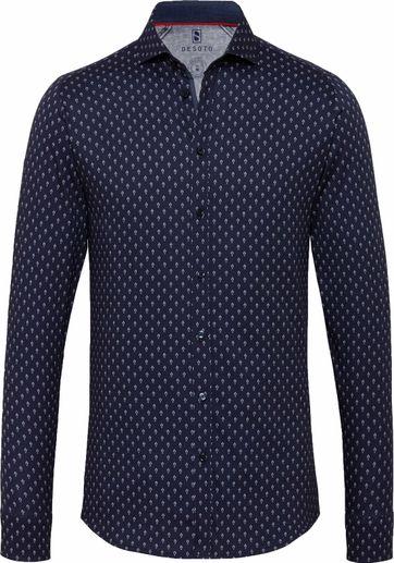 Desoto Overhemd Strijkvrij Donkerblauw 554