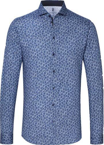 Desoto Overhemd Strijkvrij Donkerblauw Bloemen