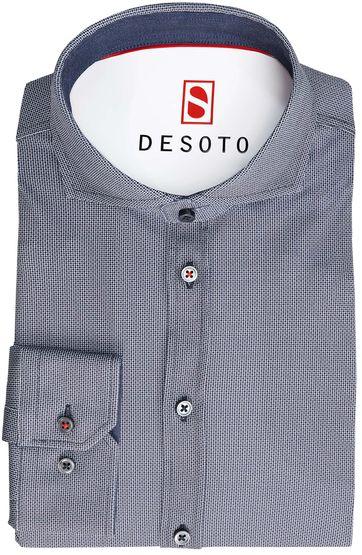 Detail Desoto Overhemd Strijkvrij Donkerblauw Print