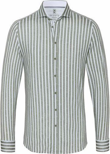 Desoto Overhemd Strijkvrij Groen Streep