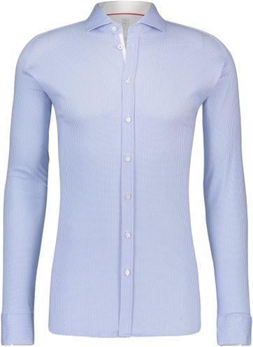 Desoto Overhemd Strijkvrij Stippen Blauw