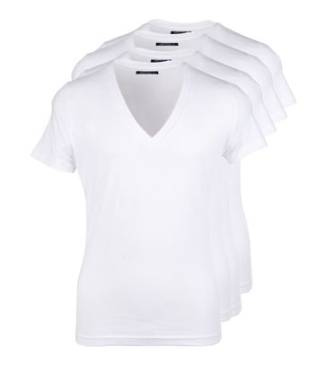 Diepe V hals 4-Pack Stretch T-Shirt