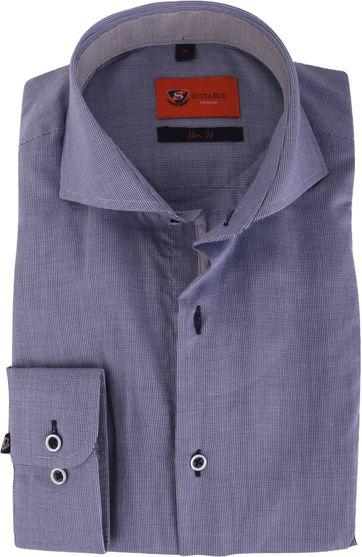 Donkerblauw Overhemd.Donkerblauw Overhemd Slim Fit 112 04 112 4 Caw Fine Dessin