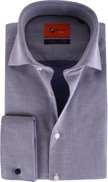 Doppel Cuff Hemd Blau Kariert 52-22