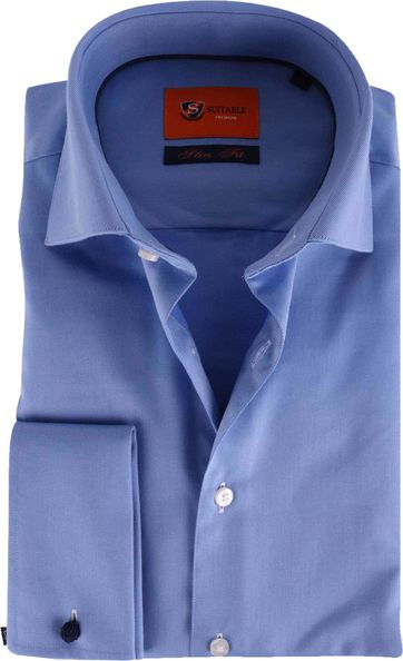 Doppel Cuff Hemd Blau Twill 52-20