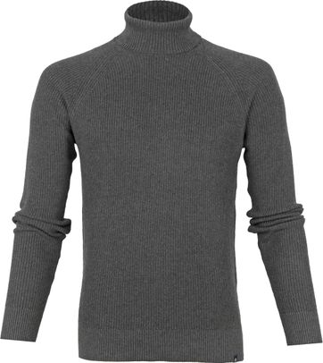 Dstrezzed Cotton Rib Turtleneck Dark Grey