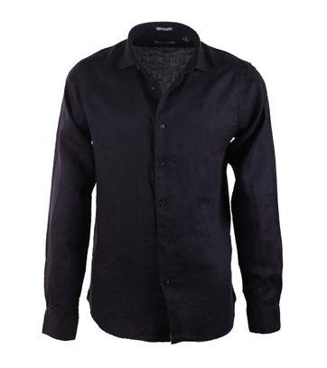 Dstrezzed Linnen Overhemd Donkerblauw
