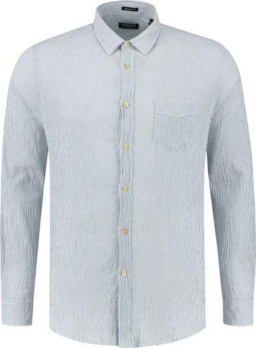 Dstrezzed Overhemd Seersucker Strepen Blauw
