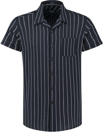 Dstrezzed Overhemd Seersucker Strepen Donkerblauw