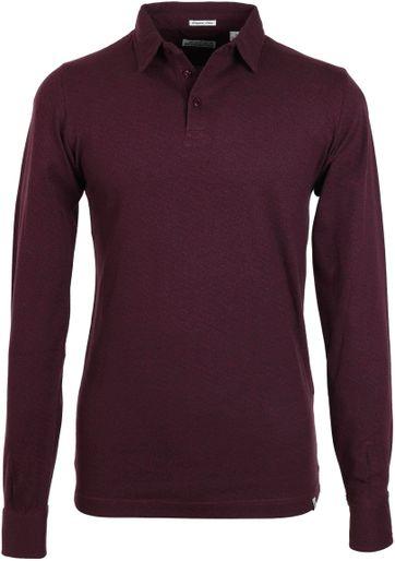 Dstrezzed Poloshirt mit langen Ärmel Bordeaux Print