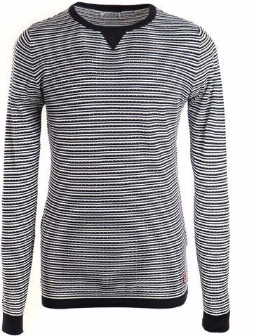 Dstrezzed Sweater Streifen Dunkelblau Weiß