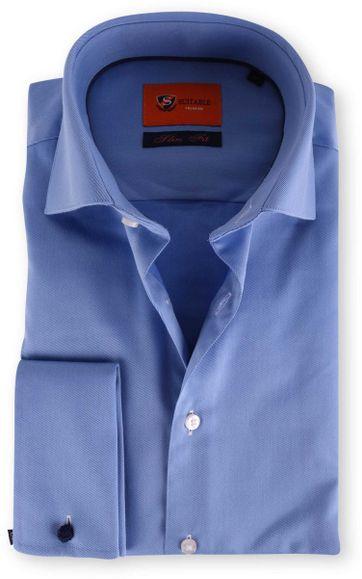 Dubbelmanchet Overhemd Blauw Twill 52-20