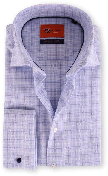 Dubbelmanchet Overhemd Blauwe Ruit 52-23