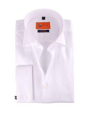 Dubbelmanchet Overhemd White Twill