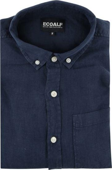 Ecoalf Overhemd Linnen Donkerblauw