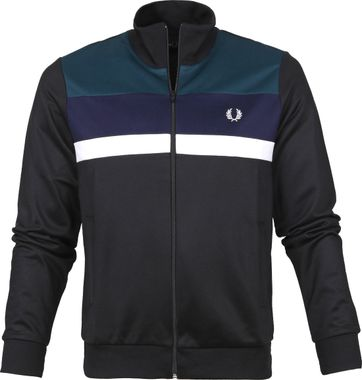 Fred Perry Colour Block Jacke Schwarz