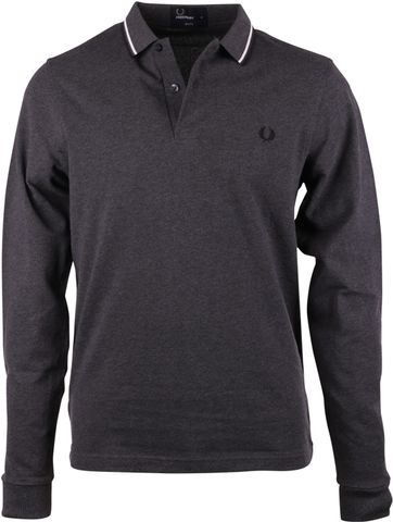 Fred Perry Polo Longsleeve Antraciet Slim Fit